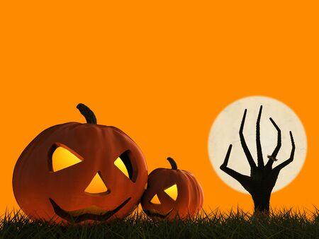 rising dead: 3d rendering halloween pumpkin and zombie hand rising