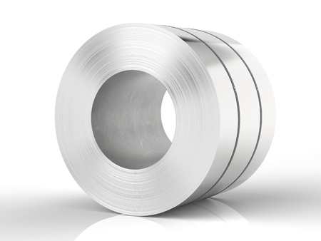 3d rendering roll of steel sheet on white background