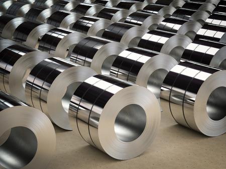 3D-Rendering-Rolle aus Stahlblech in der Fabrik