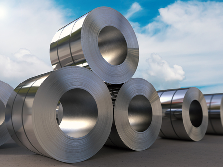 leaden: 3d rendering roll of steel sheet Stock Photo