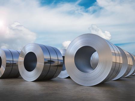 3d rendering roll of steel sheet Stockfoto