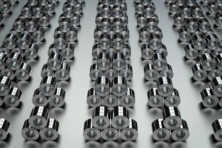 leaden: 3d rendering heap of roll of steel sheets in factory
