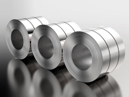 工場で鋼板のロールの 3 d レンダリング ヒープ 写真素材