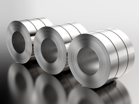 3d rendering heap of roll of steel sheets in factory