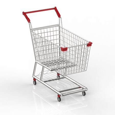 empty shopping cart: 3d rendering empty shopping cart with red handle Stock Photo