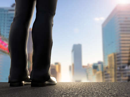 dream land: rear view of businessman standing with cityscape background