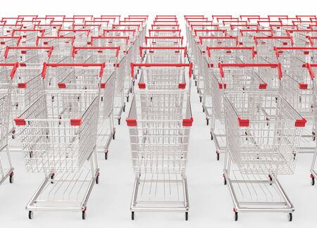carretilla de mano: Representación 3D carritos de la compra vacío en una fila Foto de archivo