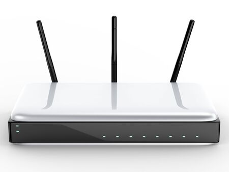 3d rendering wireless router on white background Stock Photo