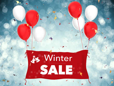 3d rendered winter sale banner with red cloth banner, red balloons and confetti
