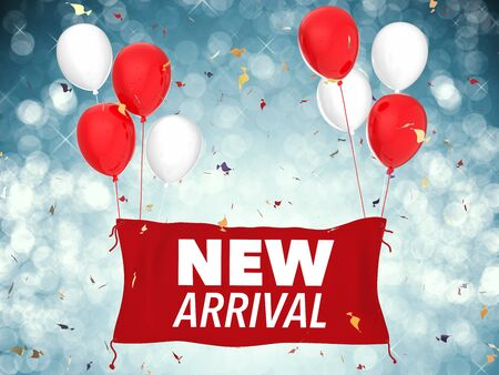 3d rendering new arrival concept with red cloth banner, red balloons and confetti