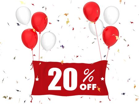 sale off: 3d rendering 20% sale off banner on white background