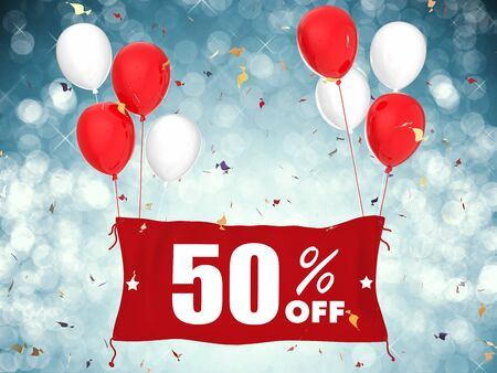 sale off: 3d rendering 50% sale off banner on blue background Stock Photo