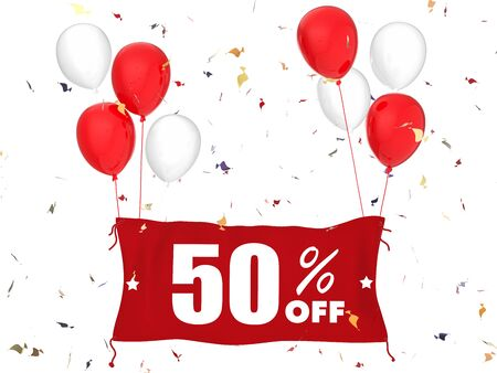 sale off: 3d rendering 50% sale off banner on white background