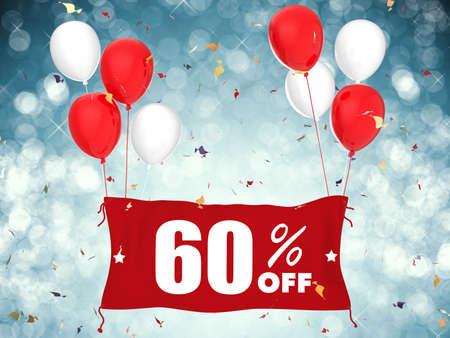 60: 3d rendering 60% sale off banner on blue background