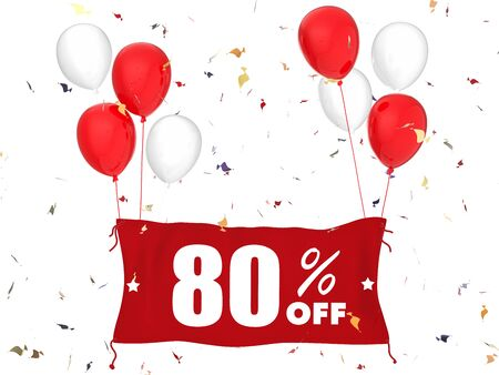 sale off: 3d rendering 80% sale off banner on white background