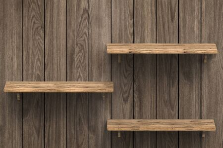 lumber room: 3d rendering three wooden shelves on wall Stock Photo