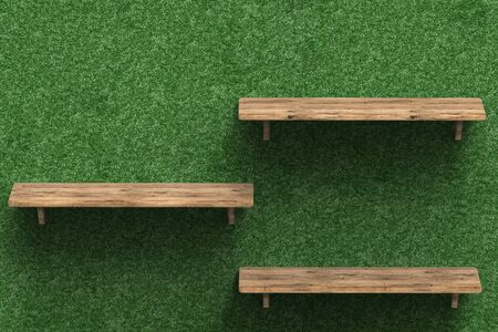 three shelves: 3d rendering three wooden shelves on wall Stock Photo