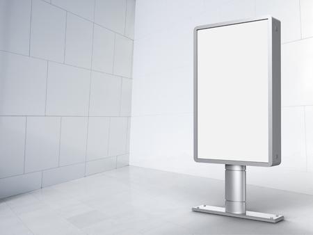 white tile: 3d rendering vertical billboard with white tile background