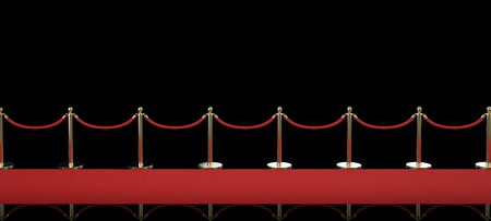 stanchion: 3d rendering red carpet with rope barrier on black background