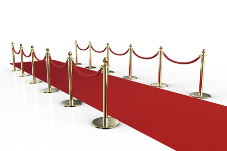 stanchion: 3d rendering red carpet with rope barrier