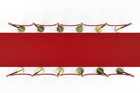 rope barrier: 3d rendering red carpet with rope barrier