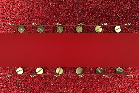 red carpet background: 3d rendering red carpet with rope barrier on red background