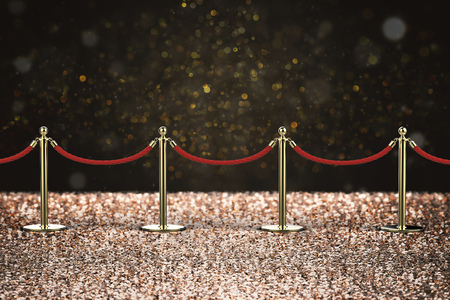 stanchion: 3d rendering red rope barrier with gold pillar