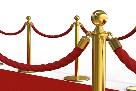 3d rendering golden pillar with rope barrier on red carpet Stock Photo