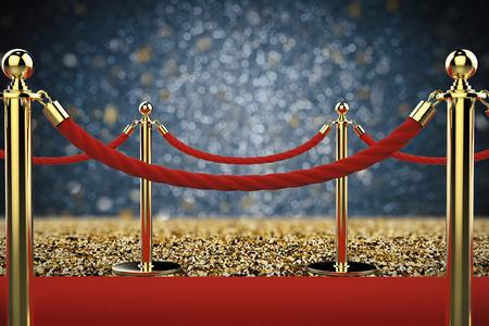 レッド カーペットの上ロープのバリアと 3 d レンダリング黄金柱