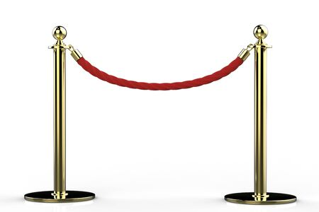rope barrier: 3d rendering red rope barrier with gold pillar on white background Stock Photo