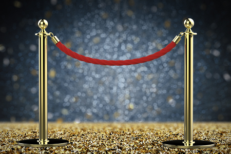 velvet rope barrier: 3d rendering red rope barrier with gold pillar