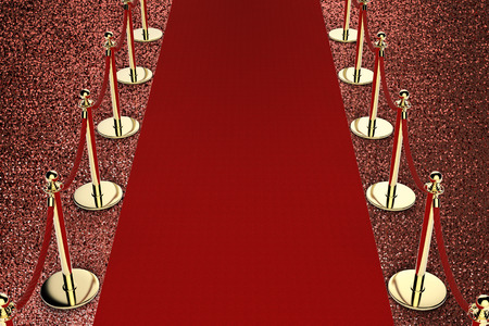 velvet rope barrier: 3d rendering red carpet with rope barrier on red background