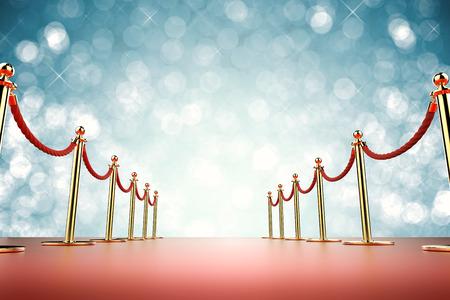 Representación 3D alfombra roja con barrera de cuerda sobre fondo azul Foto de archivo