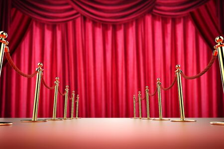 festival scales: 3d rendering red carpet and rope barrier with red curtain background