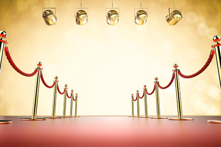 prestigious: 3d rendering red carpet and rope barrier with shining spotlights