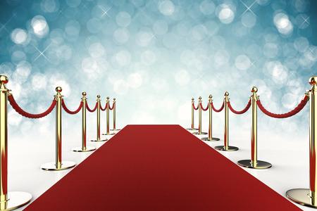 3d teruggevend rood tapijt met kabelbarrière op blauwe achtergrond Stockfoto