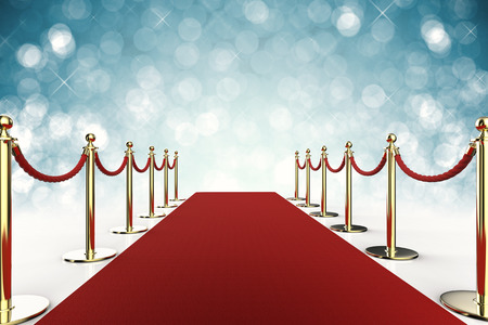 3d rendering red carpet with rope barrier on blue background