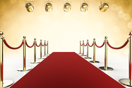 velvet rope barrier: 3d rendering red carpet and rope barrier with shining spotlights