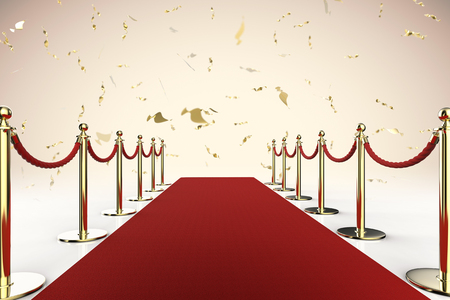 3d rendering red carpet and rope barrier with shiny gold glitter Stock Photo