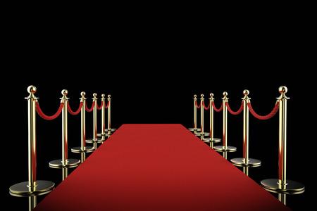 3D-rendering rode loper met touw barrière op zwarte achtergrond