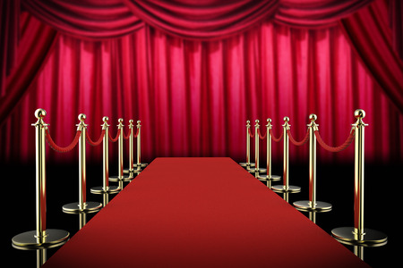 stanchion: 3d rendering red carpet and rope barrier with red curtain background