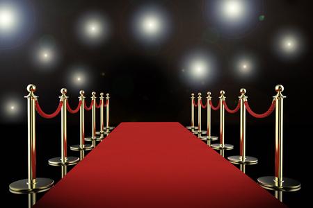 3D-rendering red carpet en touw barrière met glanzende schijnwerpers