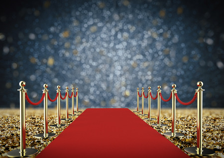 3d rendering red carpet and rope barrier with shiny gold glitter Stockfoto