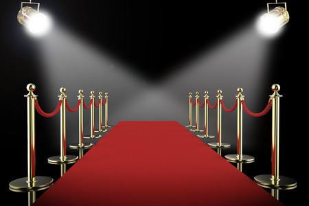 3d rendering red carpet and rope barrier with shining spotlights