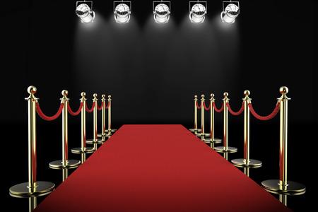 il rendering 3d tappeto e corda rossa barriera con faretti brillanti Archivio Fotografico