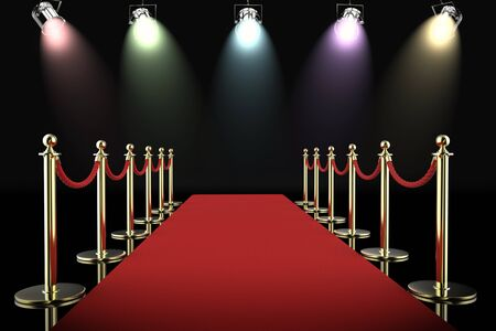 festival scales: 3d rendering red carpet and rope barrier with shining spotlights