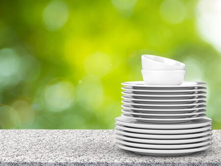 granite countertop: 3d rendering stack of white dishes Stock Photo