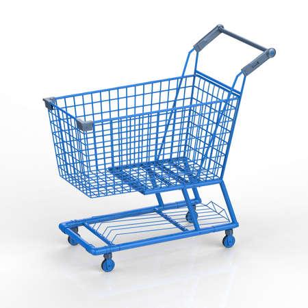 carretilla de mano: 3d rendering empty blue shopping cart