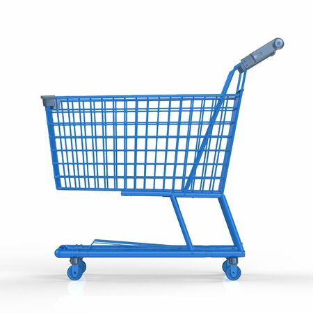 3d rendering empty blue shopping cart