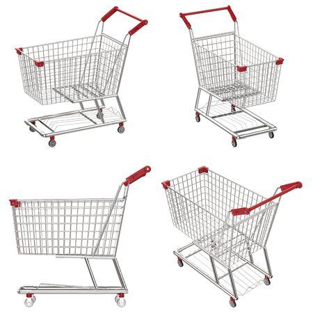 carretilla de mano: 3d rendering empty shopping cart with red handle Foto de archivo